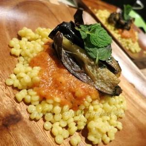 Israeli Couscous w Minted Eggplant & Tomato Sauce