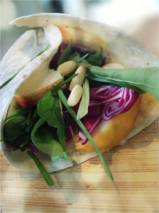 Cabbage, Rocket & Apple Wrap w Pine Nuts & Baba Ghanoush