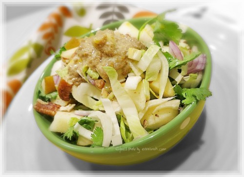 Witlof, Pear & Coriander Salad w Orange Tahini Dressing
