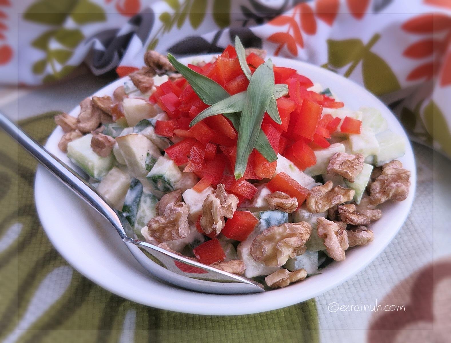 Cucumber, Pear & Capsicum Salad w Walnuts & Tarragon
