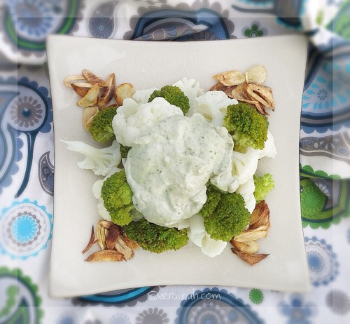 Broccoli & Cauliflower w Pesto Cream & Slivered Garlic