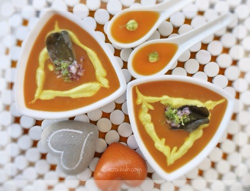 Kaffir & Ginger Carrot Soup w Curry Cashew Cream & Lime